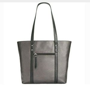 "Gray metallic pebbled ""leather"" tote"